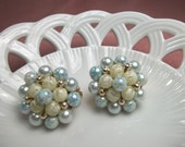 Blue Glow Opalescent Vintage Bead Earrings-Vintage Wedding-Made in Japan-Pre WWII-Collectible-Theater Prop-Vintage Glamour