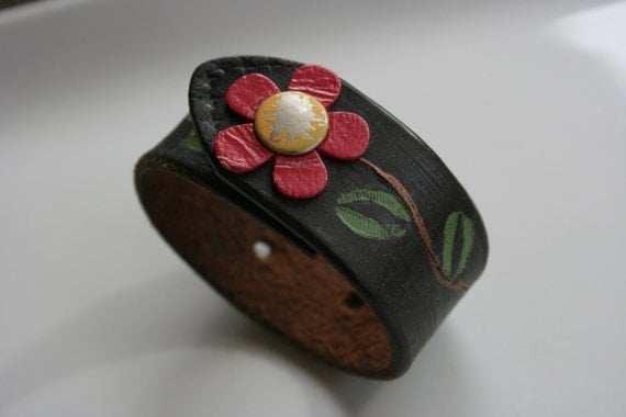 Leather Wristband Cuff with Pink Flower