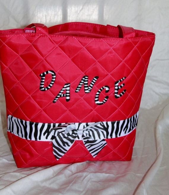 Girls Hot Pink Zebra Dance Tote Purse Bag Personalized Custom Embroidery