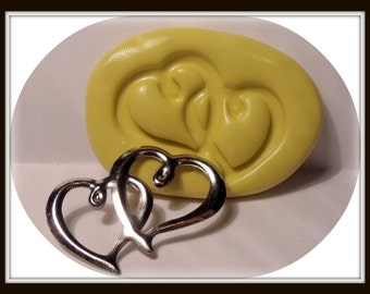 double heart flexible silicone push mold / craft/ dessert/ mini food / soap mold/ resin/jewelry and more...