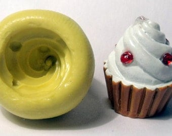 kawaii cupcake frosting silicone push mold / craft/ dessert/ mini food / soap mold/ resin/jewelry and more....