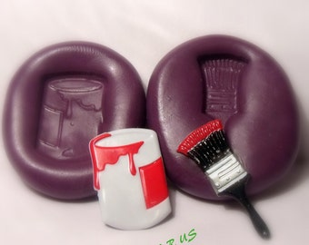paint can and brush silicone push mold / craft/ dessert/ mini food / soap mold/ resin/jewelry and more....