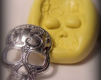 skeleton face- flexible silicone push mold / craft/ dessert/ mini food / soap mold/ resin/jewelry and more..