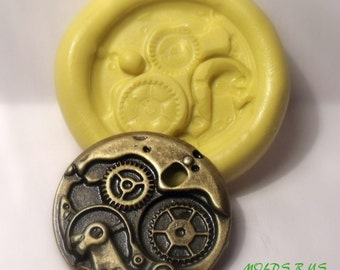 steampunk gears flexible silicone push mold / craft/ dessert/ mini food / soap mold/ resin/jewelry and more...