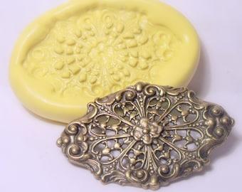 victorian filigree embellishment mold- flexible silicone push mold / craft/ dessert/ mini food / soap mold/ resin/jewelry and more...
