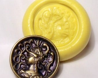 antique button - flexible silicone push mold