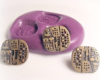 Steampunk / gothic button molds- flexible silicone push mold / craft/ dessert/ mini food / soap mold/ resin/jewelry and more..