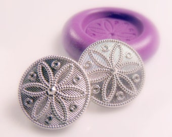 Daisy / flower  button mold- flexible silicone push mold / craft/ dessert/ mini food / soap mold/ resin/jewelry