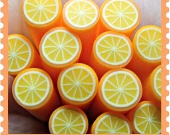 Orange Fruit Polymer clay Cane Kawaii Nail Art / Kawaii miniature food/ Decoden