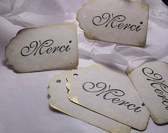"Thank You ( Merci) Tags  Gift Tags  2 1/4"" x 1 1/2"" (Qty 50)"