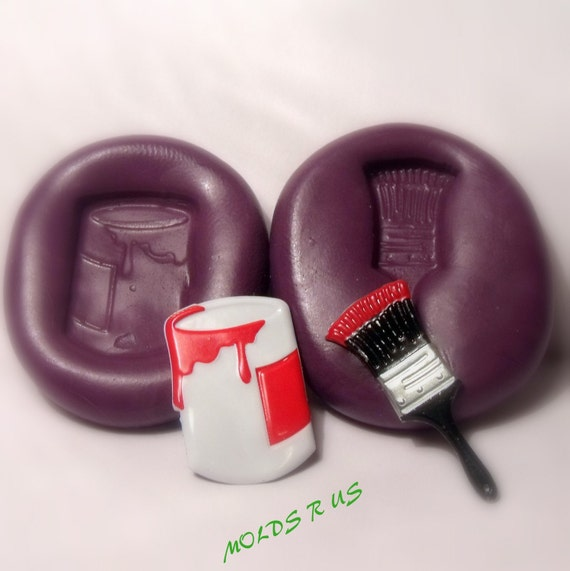 Paint Can And Brush Silicone Push Mold Craft Dessert Mini