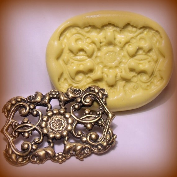 victorian floral filigree flexible silicone push mold / craft/ dessert/ mini food / soap mold/ resin/jewelry and more...