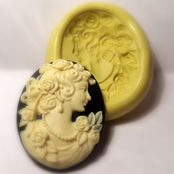 cameo victorian lady mold - flexible silicone push mold / craft/ dessert/ mini food / soap mold/ resin/jewelry and more.