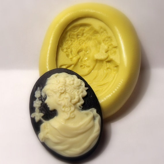 cameo victorian lady with flowers mold - flexible silicone push mold / craft/ dessert/ mini food / soap mold/ resin/jewelry and more.