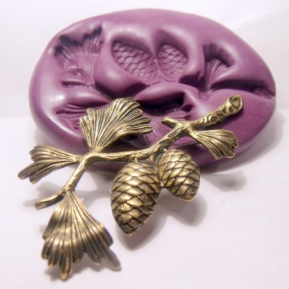 pine tree branch- flexible silicone push mold