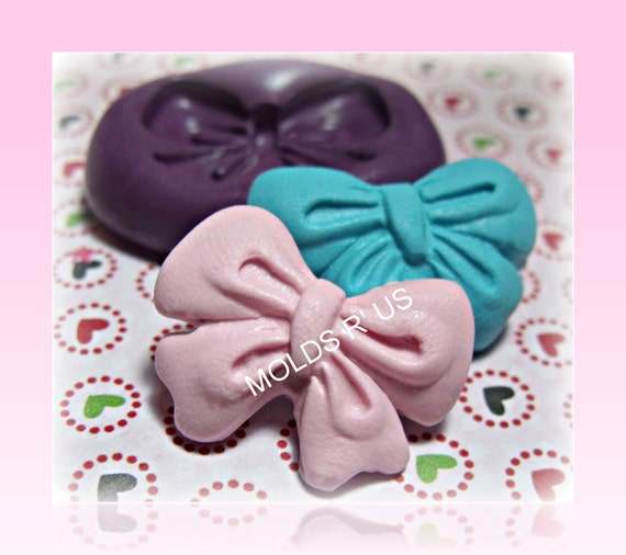 kawaii cute bow mold- flexible silicone push mold / craft/ dessert/ mini food / soap mold/ resin/jewelry and more..