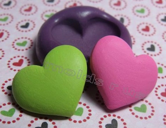 Puffy Heart - flexible silicone push mold / craft/ dessert/ mini food / soap mold/ resin/jewelry and more.