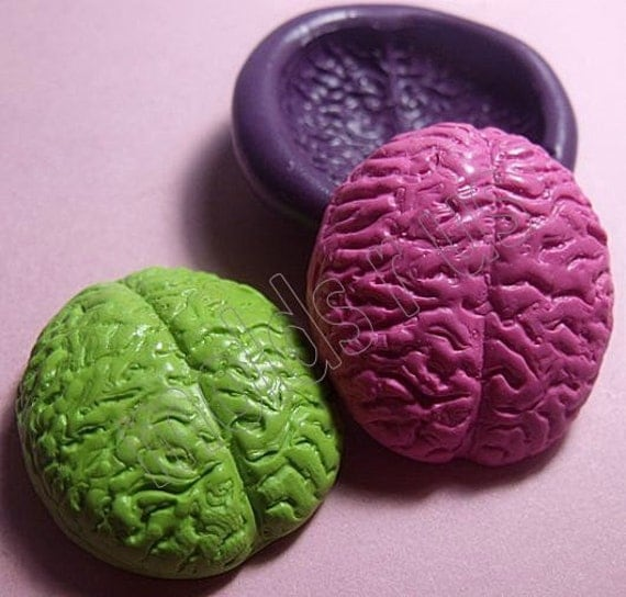 Human Brain Flexible silicone push mold- fondant, wax, miniature foods, decoden, clay, resin, sweets, pmc