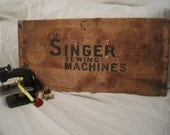 Vintage Singer Sewing Machine Wooden Crate Panel Sign
