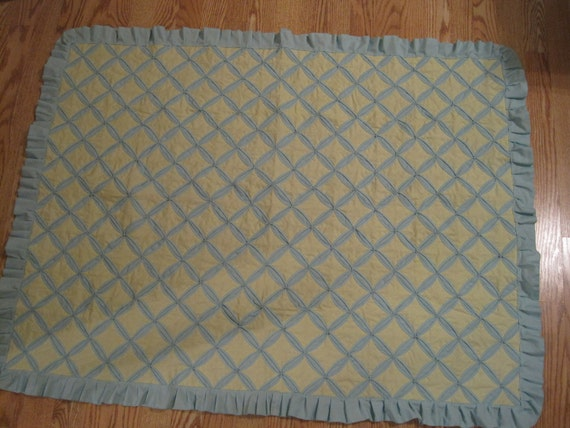 Vintage Mint Green and Yellow Cathedral Window Crib Quilt