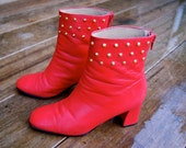 SHOE SALE - Red Leather Ankle Boot with GOLD Studs / Size 6