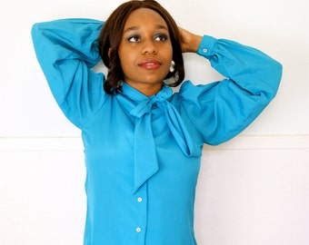 80s Vintage Teal Tie SECRETARY Blouse // Size Small- Med