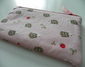 Small Zipper Pouch -- Hedgehogs and Strawberries on Pink Background