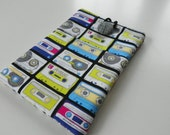 iPad mini, Kindle, Kindle 3g, Kindle Fire, Nook Cover Sleeve Padded - Totally 80's Mix Tape