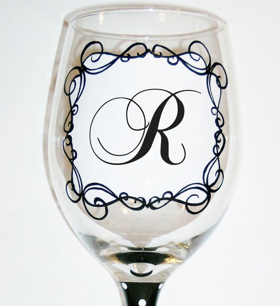 Ready to ship sale hand painted monogram initial wine glass for Painted wine glasses with initials