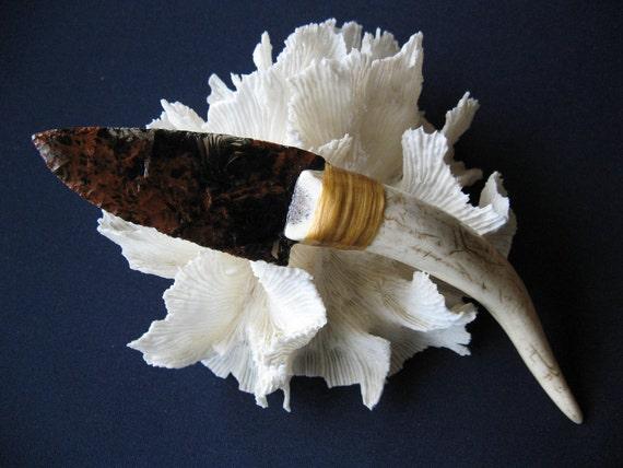 Knife, Flintknapped obsidian w/ antler tine handle
