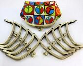 6.5 inches (16.5 cm) - Antique Brass Half Round Clutch Purse Frame - 10 Pieces