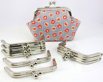 6 x 2 inches (15 x 5 cm) - Silver Clutch Purse Frame - 10 Pieces