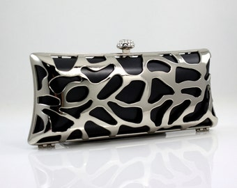 8.25 x 3.5 inches - Shiny Silver Clamshell Purse Frame and Case with Chain Loops (CBF-AL16)
