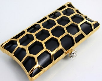 7.5 x 4 inches - Honeybee - Rectangle Dressing Case Shiny Golden Purse Frame with Covers (CBF-AL08)