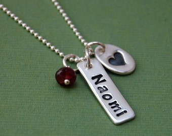 Custom Name Necklace With Heart & Birthstone