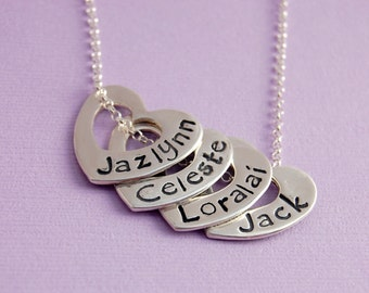 Name Necklace - Personalized -  Close to My Heart Four Heart Necklace
