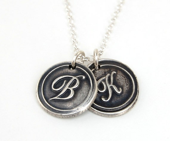 Wax Seal Double Initial Necklace - Custom Monogram Letter -  Ready to ship