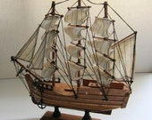 Vintage collectible wooden toy display model ship schooner