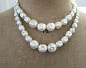 On hold for Anne Vintage retro Mad men Doris Day double faux dimpled pearl strand necklace