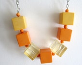 Vintage retro sixties revival chunky clear yellow and orange lucite cube necklace