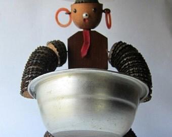 Vintage 1950s collectible folk art kitsch bottle top man serving bowl