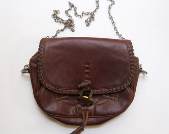 Vintage retro Rinbow Duck 1970 tan stitched leather shoulder bag with metal chain