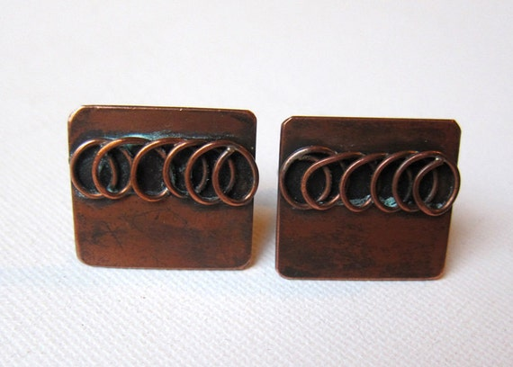 Vintage retro groovy mad men coiled wire copper cuff links