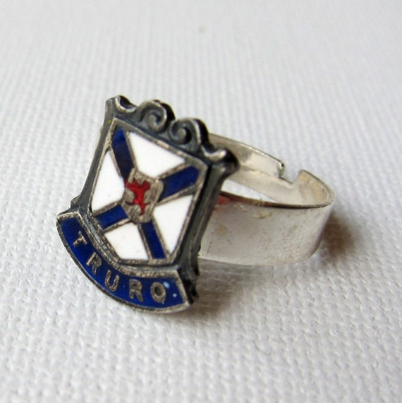 Vintage goth punk silver plated Canadian Nova Scotia Truro coat of arms enamel ring