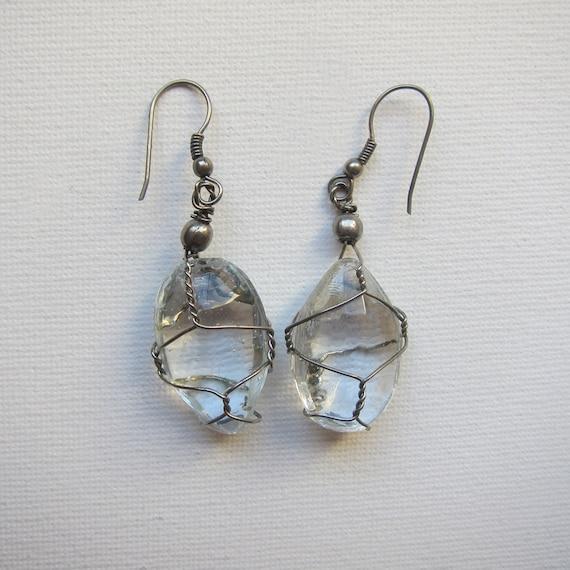 Vintage boho glass tear drop in silver wire cage drop earrings