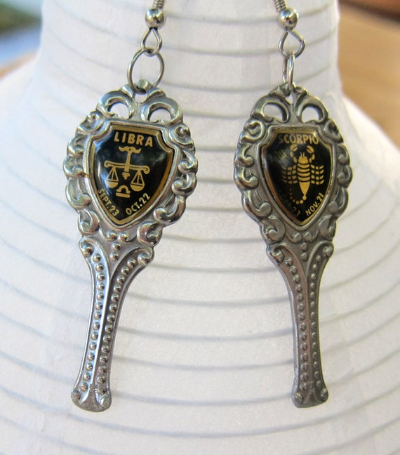 Gothic cyberpunk vintage star sign scorpio and libra love sign earrings