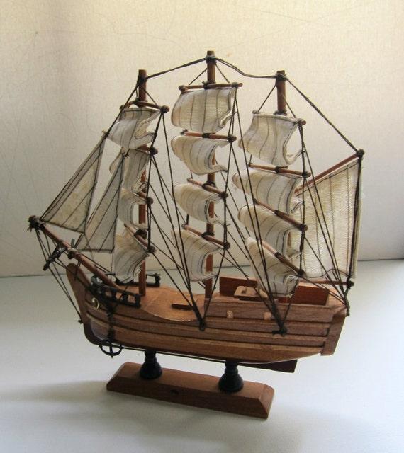 Vintage collectible wooden toy display model ship schooner
