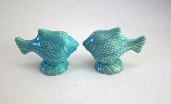 Vintage porcelain turquoise goldfish salt and pepper shakers