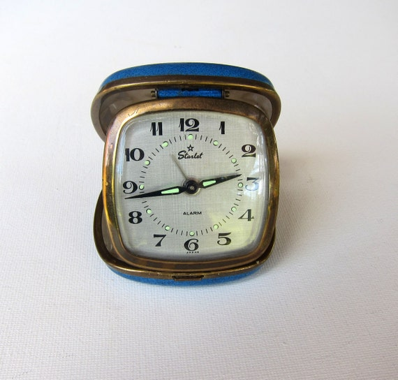 Vintage collectible retro Starlet blue travelling alarm clock