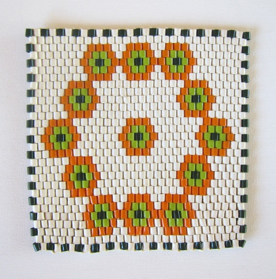 Vintage retro 1960s handmade mosaic pattern woven plastic trivet